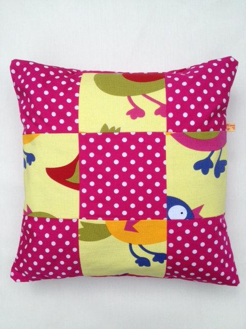 Pink Polka Dot Bird Cushion