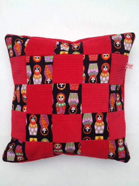 Small Cord Doll Patchwork Cushion - Red