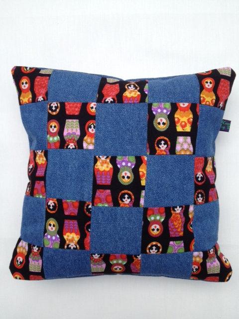 Small Denim Doll Patchwork Cushion - Blue