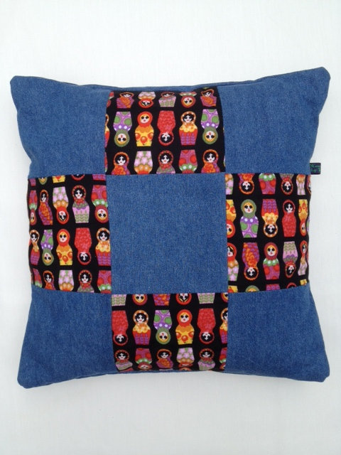 Denim Doll Patchwork Cushion in Blue