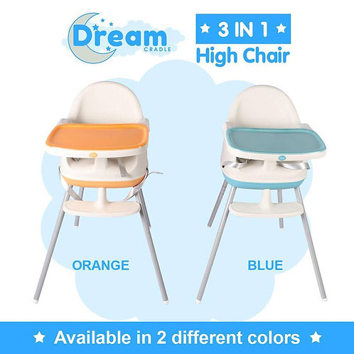 FLASH SALE! DreamCradle 3 in 1 high chair, Blue or Orange