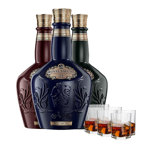 Chivas Regal Royal Salute 21 Collection       ( FREE 3 x WHISKY GLASS)