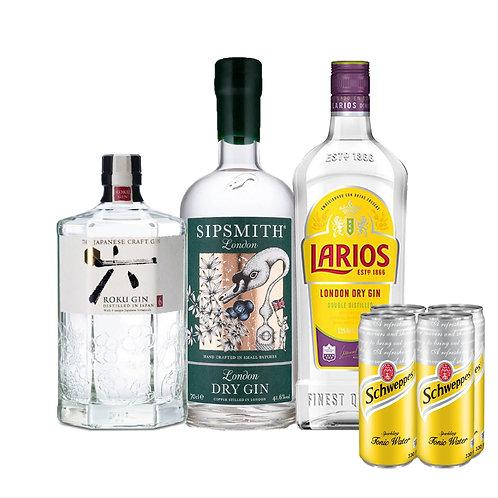 Gin-holic Bundle Deal (Sipsmith Gin + Roku Gin + Larios Gin) Free: x 4 Schweppes