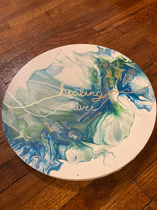 Healing River - Dutch Pour on 12 inch round canvas