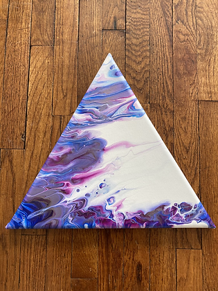 Triune - Ringed Dutch Pour- 12 in triangle canvas