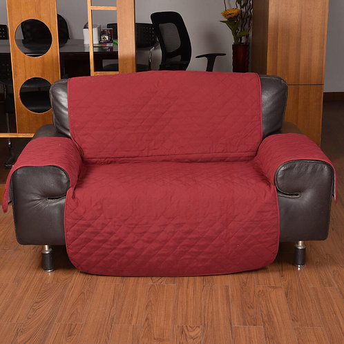 3 Seater Sofa Covers Quilted Couch Lounge Protectors Slipcovers Burgundy