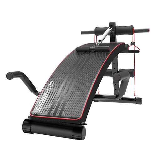 PowerTrain Inclined Sit up bench w/ Resistance bands Push up Bars