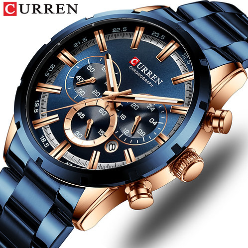 CURREN Men's Watch With Stainless Steel  Luxury Sports Chronograph