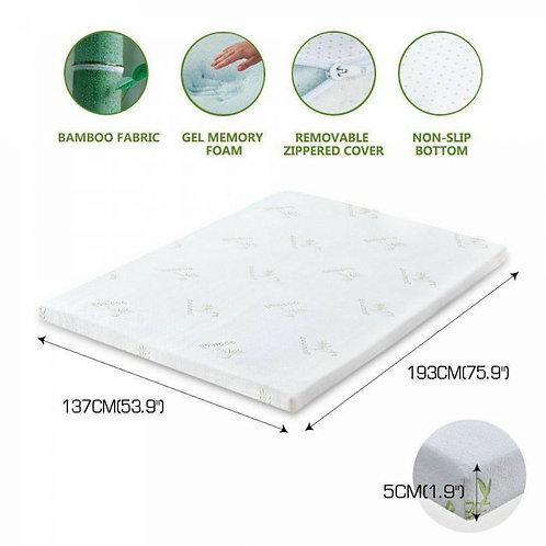 DreamZ 5cm Thickness Cool Gel Memory Foam Mattress Topper Bamboo Fabric King
