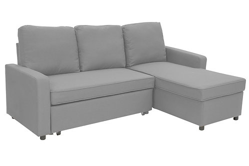 Sarantino 3-Seater Corner Sofa Bed Lounge Storage Chaise Couch L.Grey