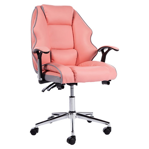Faux Leather High Back Modern Reclining Executive Office Chair Pink
