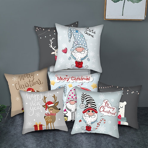 Fuwatacchi Cushion Cover Cartoon Christmas Style Pillow Cover