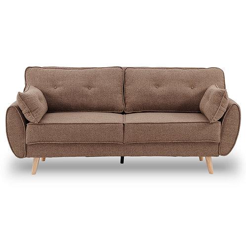 Sarantino 3 Seater Modular Linen Fabric Sofa Bed Couch Futon - Brown