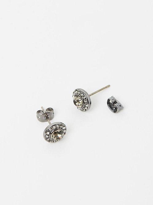 Izoa Small Detail Stud Earrings Gunmetal