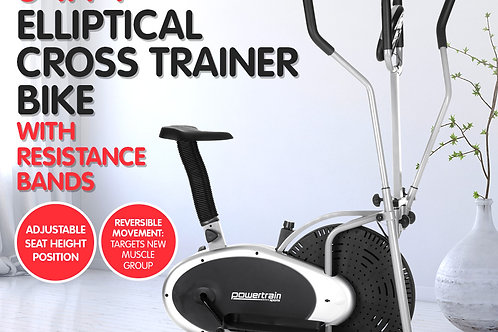 3-in-1 Elliptical Cross Trainer Exercise Bike w/ Resistance Bands