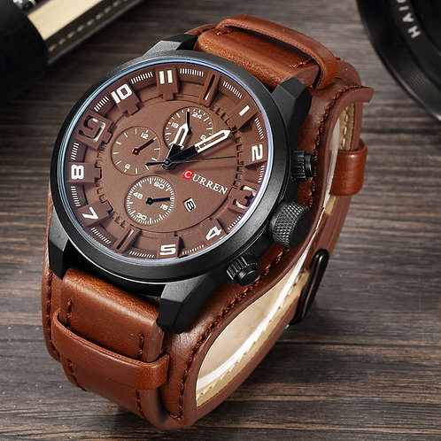 CURREN Army Men's Watch Luxury Leather