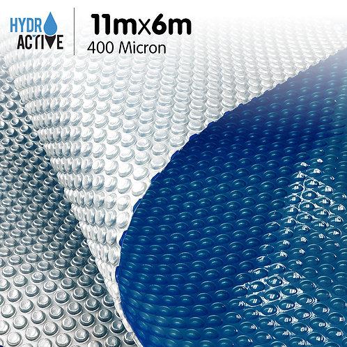 400 Micron Solar Swimming Pool Cover Silver/Blue - 11m x 6m