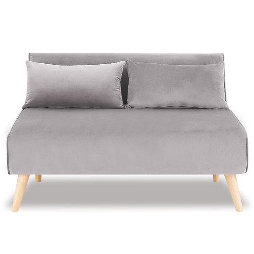 Sarantino 2-Seater Adjustable Sofa Bed Lounge Faux Velvet - Light Grey