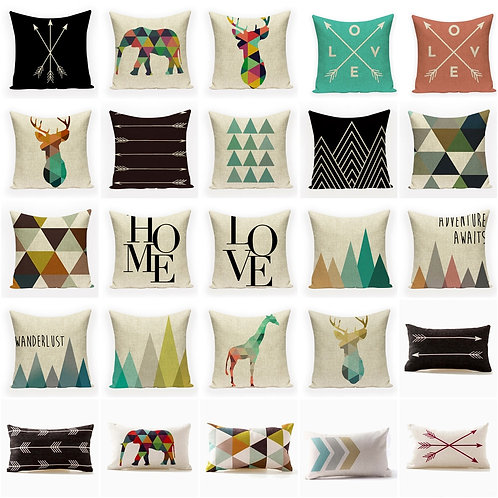 Geometric Cushion Covers Pillow Cover 45*45 Linen