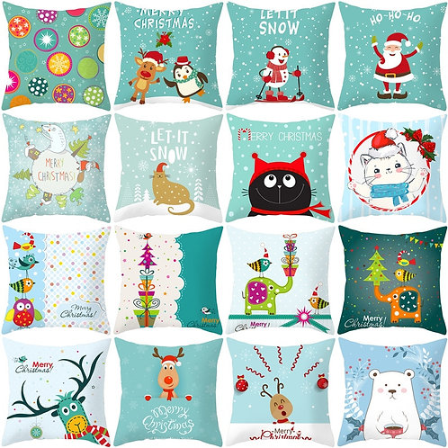 Pillow Cover Polyester Fiber Christmas  Cushion Cover