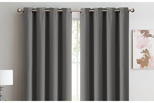 2x 100% Blockout Curtains Panels 3 Layers Eyelet Charcoal 140x230cm