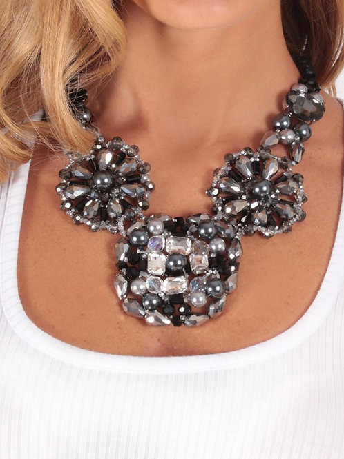 Izoa Crystal Beaded  Necklace in Silver and Gold.  Very Attractive