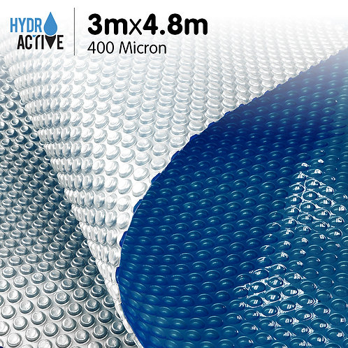 400 Micron Solar Swimming Pool Cover Silver/Blue - 3m x 4.8m