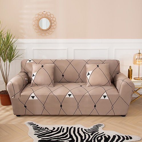 Geometric Sofa Cover Protector for Modern Elastic Stretch Sectional 1-4  Seater