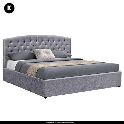 King Fabric Gas Lift Storage Bed Frame with Headboard - Dark Grey