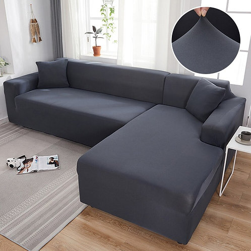 Grey Color Sofa Cover/Protector Stretch Elastic  Copridivano  L-Shape
