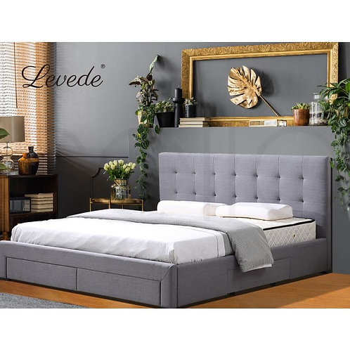 Levede Bed Frame Base With Storage Drawer Mattress Wooden Fabric Double Grey