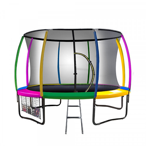 Kahuna Trampoline 8 ft with  Roof - Rainbow