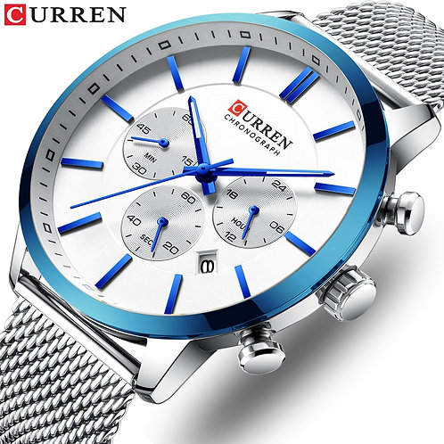 CURREN Men's Watch  Waterproof Blue Steel