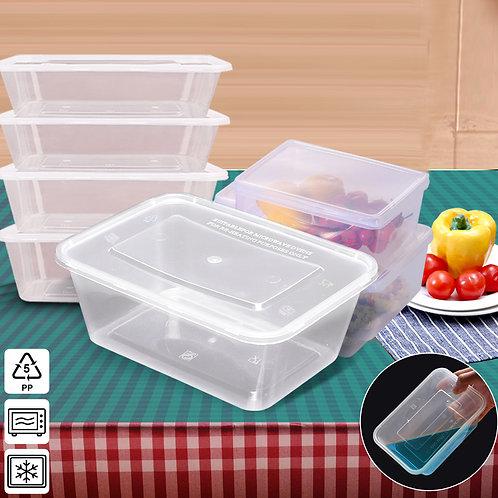 50 Packs Food Containers Plastic Base + Lids Bulk 1000ml