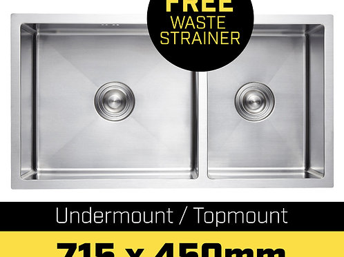 304 Stainless Steel Undermount Topmount Kitchen Laundry Sink - 715 x 450mm