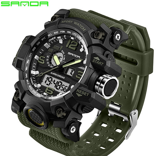SANDA Luxury  Men's Watch  Sports LED Digital Waterproof
