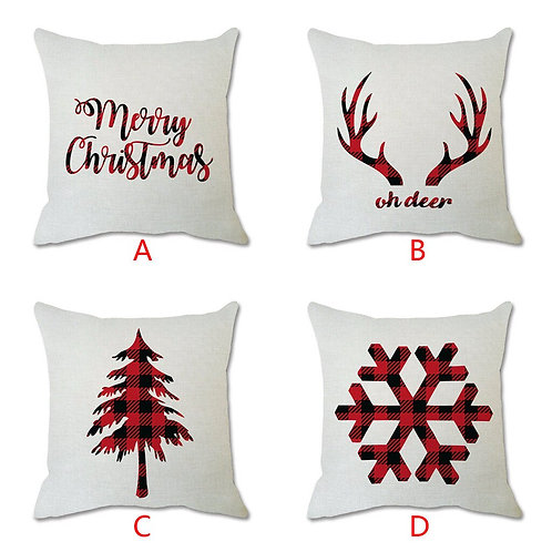 Christmas Cotton Linen  Pillow Cases Printed Cushion Cover
