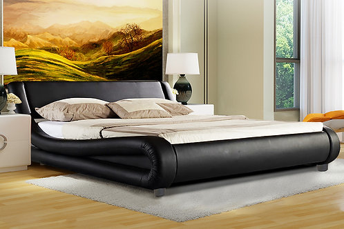 King Size Faux Leather Storage Curved Bed Frame - Black