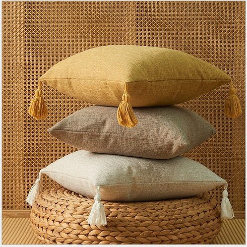 Linen Cotton Pillow Cover With Tassels  Cushion Cover 45x45cm