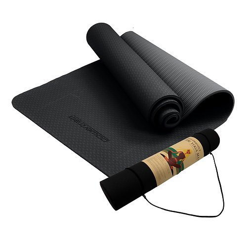 Powertrain Eco Friendly TPE Yoga Exercise Pilates 6mm Mat - Black