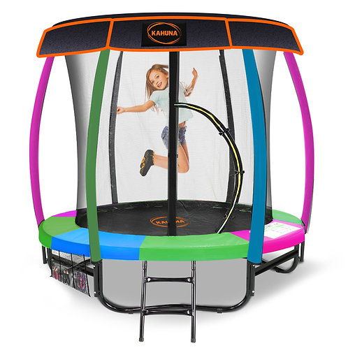 Kahuna Trampoline 6ft with  Roof - Rainbow