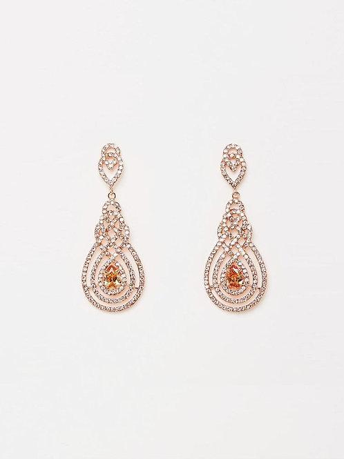 Izoa Nouveau Crystal Earrings Rose Gold Peach
