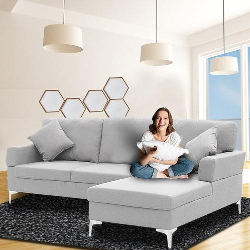 Sarantino Linen Corner Sofa Couch Lounge L-shape w/ Left Chaise L.Grey