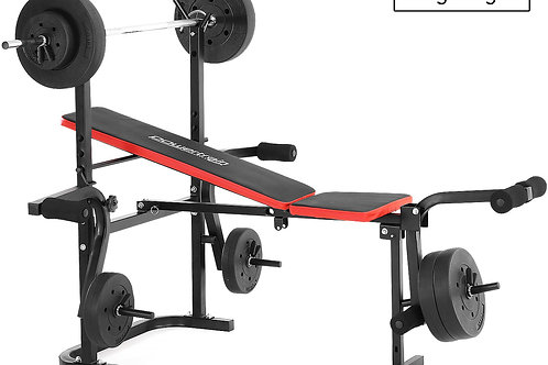 Powertrain Home Gym Workout Bench Press with 45kg Weights