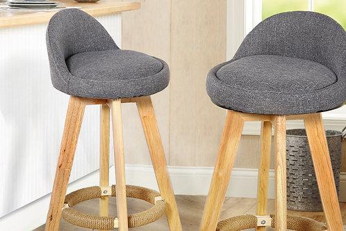 2 X Wooden Bar Stools Grey Fabric