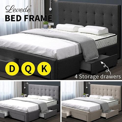 Levede Bed Frame Base With Storage Drawer Mattress Wooden  Double Dark Grey