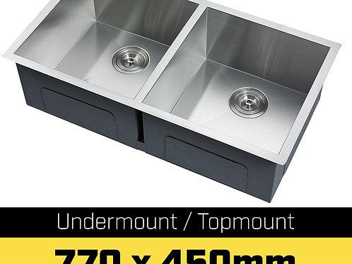304 Stainless Steel Undermount Topmount Kitchen Laundry Sink - 770 x 450mm