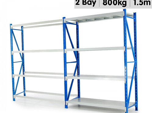 2 BAY GARAGE STORAGE STEEL RACK LONG SPAN SHELVING 1.5M-WIDE 400KG