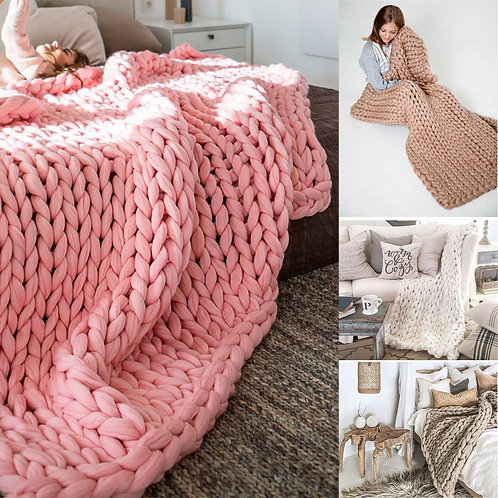 Sofa Cover Protector Knitted Blanket Plaids for Winter Bed/Sofa