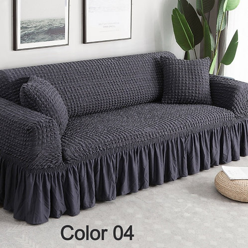 Solid Color Elastic Sofa Cover/ Protector Stretch Sectional  L Shape 1-4-Seater